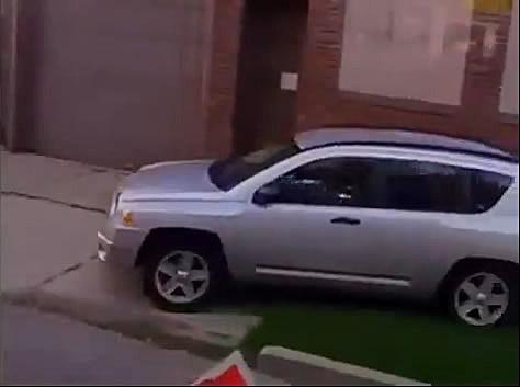 driving on sidewalk