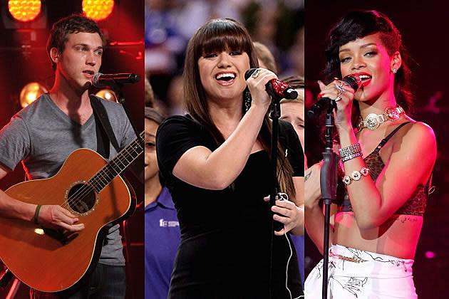 Phillip Phillips, Kelly Clarkson, Rihanna