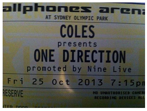 One Direction ebay ticket
