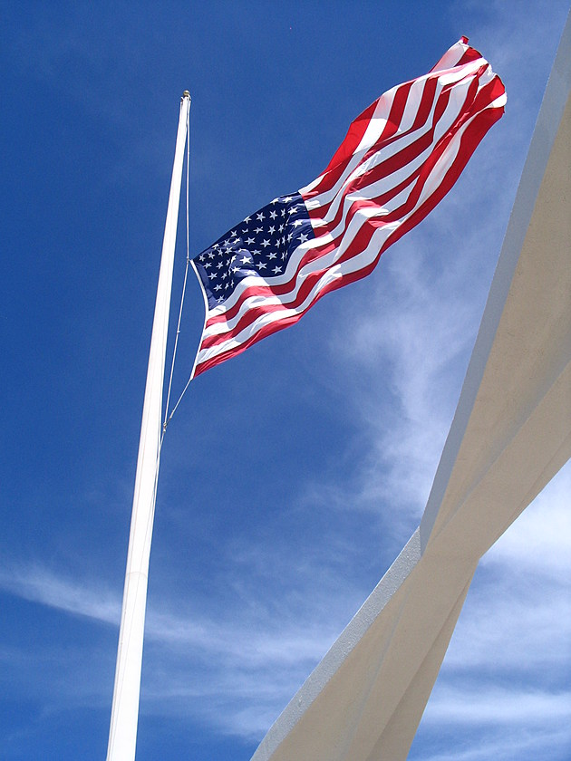 American Flag at half staff over the U.S.S. Arizona Memorial on 9/11/2007