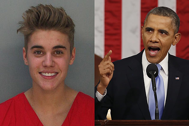 Justin Bieber Mugshot - Barack Obama Speaking