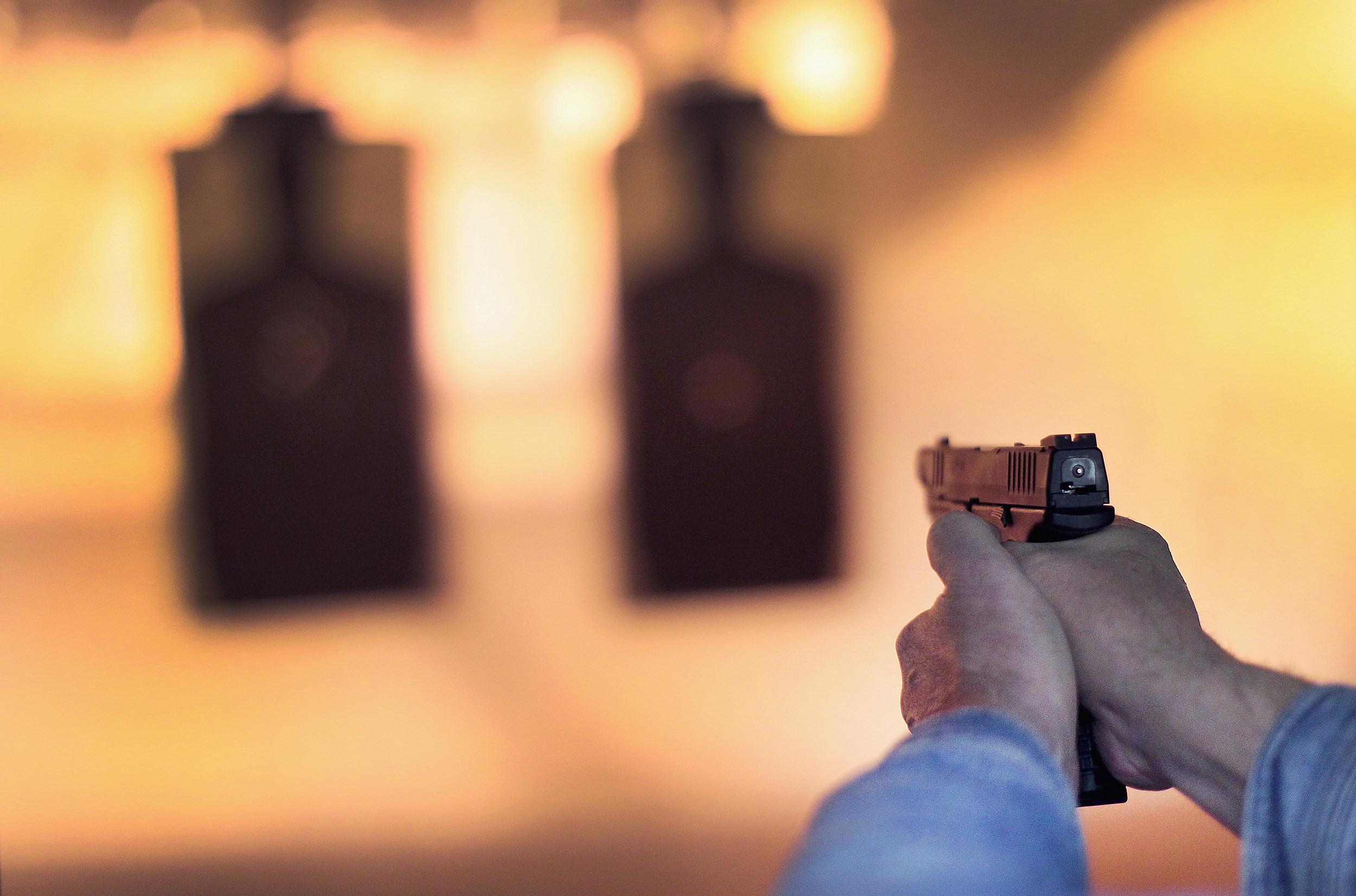 Pistol Firing on Range