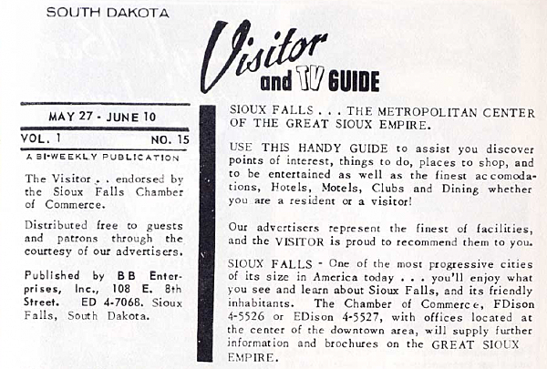 The South Dakota Visitor and TV Guide Masthead