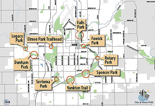 Big Sioux River Greenway Clean-Up Locations