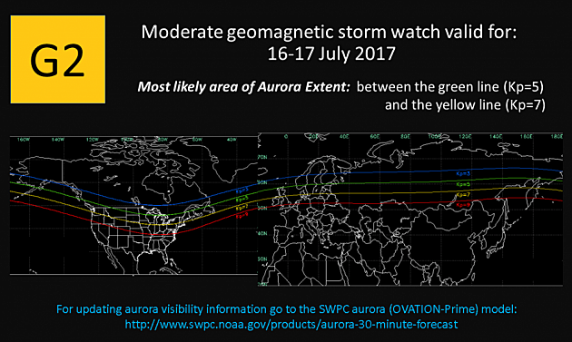 G2 (MODERATE) GEOMAGNETIC STORM WATCH ISSUED - VALID FOR 16-17 JUL 2017