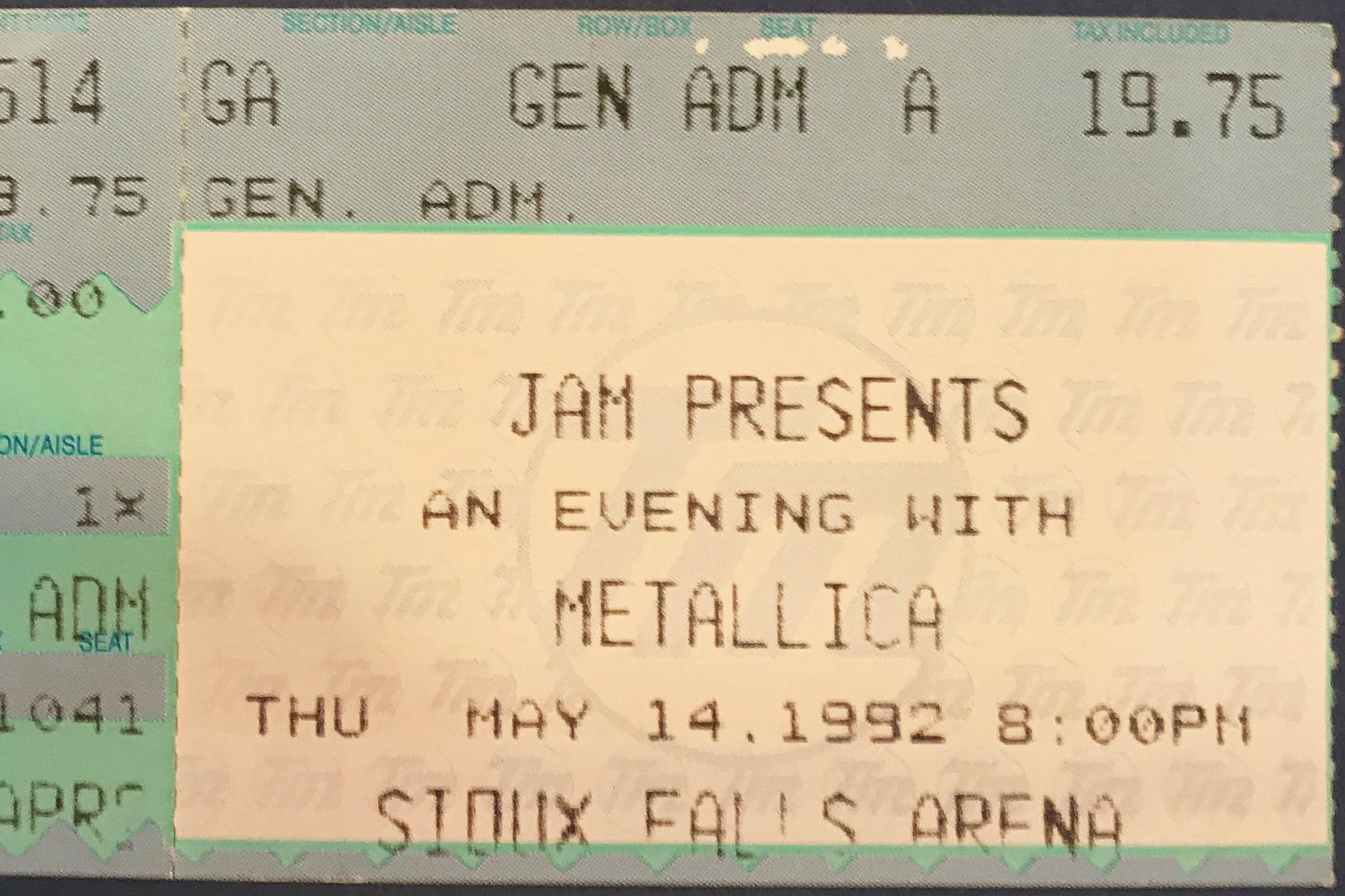 Throwback Thursday Metallica Sioux Falls Ticket Stub 1992